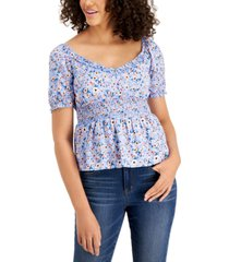 crave fame juniors' babydoll smocked top