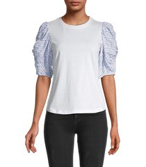 rebecca taylor women's striped puffed-sleeve top - snow - size xs