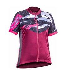 camiseta poker ciclista c/ ziper manga curta total way vinho e chumbo - feminina - m incolor