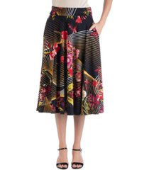 24seven comfort apparel geometric floral a-line midi skirt with pockets