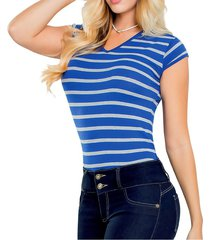 blusa para mujer rayas azul mp 41332
