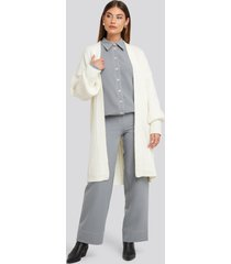 na-kd chunky balloon sleeve wool blend cardigan - white