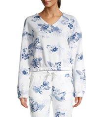 vintage havana women's burnout v-neck floral crop top - white - size l