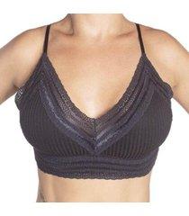 sutiã econfort top cropped com bojo removível linha gloss feminino - feminino
