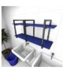 prateleira industrial para lavanderia aço preto mdf 30cm azul escuro modelo ind23azlav