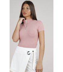 blusa feminina canelada com zíper de argola manga curta gola alta rosê