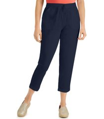 karen scott petite delilah cotton cuffed pull-on ankle pants, created for macy's