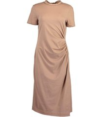 caffe short sleeve cotton jersey rouched mid-length dress