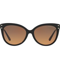 women's michael kors 55mm gradient cat eye sunglasses - black/ brown gradient