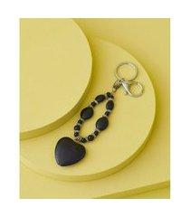 chaveiro com pingente - chaveiro rafaela cor: preto - tamanho: único