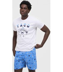 pijama malwee liberta taco cinza/azul