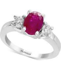 gemstone bridal by effy ruby (1-3/8 ct. t.w.) & diamond (3/8 ct. t.w.) engagement ring in 18k white gold
