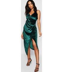 tall velvet wrap midi dress, emerald