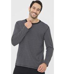 camiseta dupla face reserva estampada azul-marinho/off-white