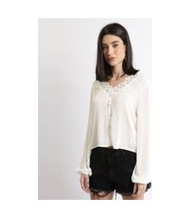 camisa feminina com transparência e renda manga longa off white