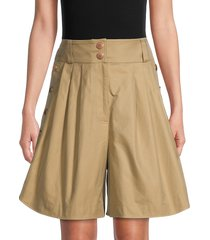 see by chloé women's buttoned cotton shorts - grove brown - size 40 (8)