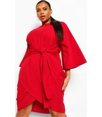 plus wikkel jurk met kimono mouwen en ceintuur, red