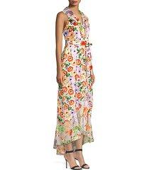 evelia asymmetric floral maxi dress