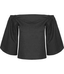 blusa feminina ombro a ombro - preto