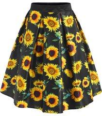 sunflower print knee length skirt