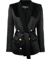 balmain tailored belted blazer - black