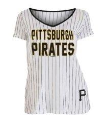 new era pittsburgh pirates women's pinstripe v-neck t-shirt