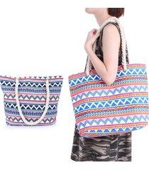 estilo étnico lienzo compras bolso de hombro mujeres - azul