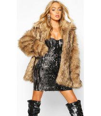 premium faux fur coat, brown