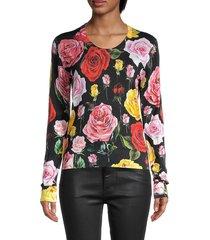 dolce & gabbana women's floral silk top - black - size 36 (2)