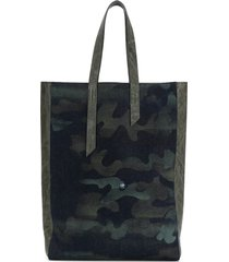 denim camouflage tote bag