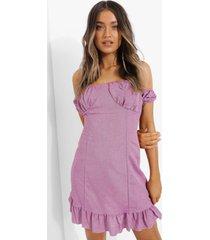linnen look mini jurk met uitgesneden hals en geplooide zoom, lilac