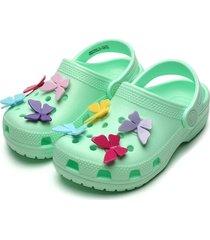 babuche crocs infantil butterfly verde