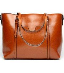 donna borsa a mano in pelle brillante tote borsa a tracolla casual con tasche anteriori