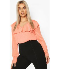 plus dobby mesh ruffle plunge blouse, coral