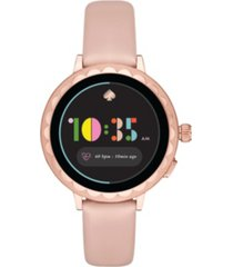 kate spade new york women's scallop blush leather touchscreen smart watch 41mm, powered by wear os by google