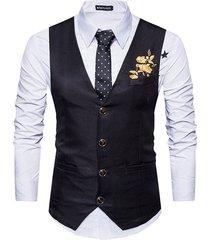 men classic v neck suit vest gilet embroidery waistcoat business wedding vest