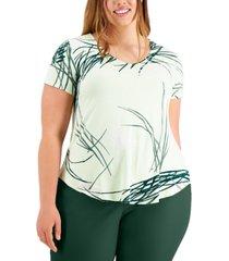 alfani plus size printed v-neck t-shirt, created for macy's