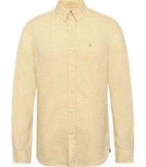 douglas linen shirt overhemd casual geel morris