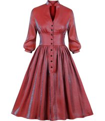 half buttoned reflective long sleeve plus size dress