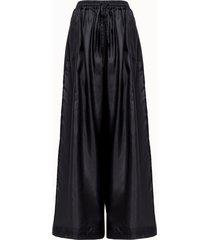 roberto collina pantalone flare in seta nera