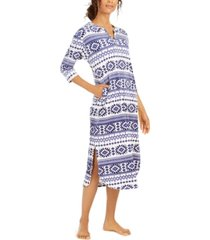 ellen tracy stretch velour fair-isle-print nightgown