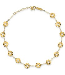 """flower anklet with 1"""" extender in 14k yellow gold"""