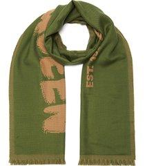 logo print fringe edge wool scarf