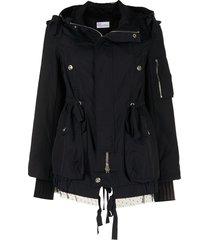 valentino pre-owned tulle detailing gathered drawstring jacket - black