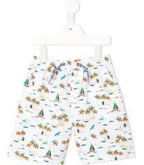 velveteen luca tropical print shorts - white