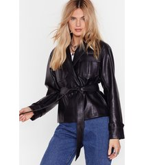 faux leather knew love belted jacket