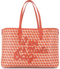 anya hindmarch i am a plastic bag tote bag - orange
