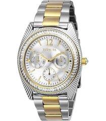 reloj invicta acero dorado modelo 267kk para dama, colección angel
