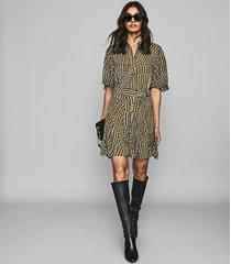 reiss ottoline - spot printed mini dress in khaki, womens, size 12