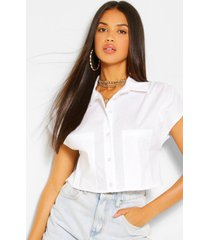 box shape cropped shirt, white